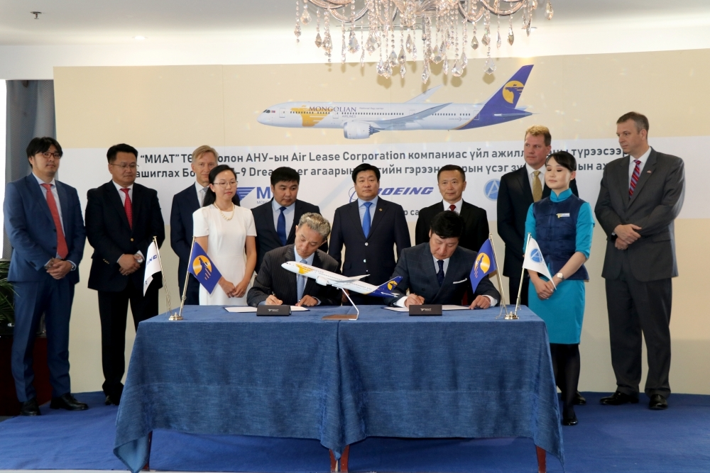 MIAT Mongolian Airlines Company signed an Operating lease agreement of Boeing 787-9 Dreamliner aircraft with Air Lease Corporation
